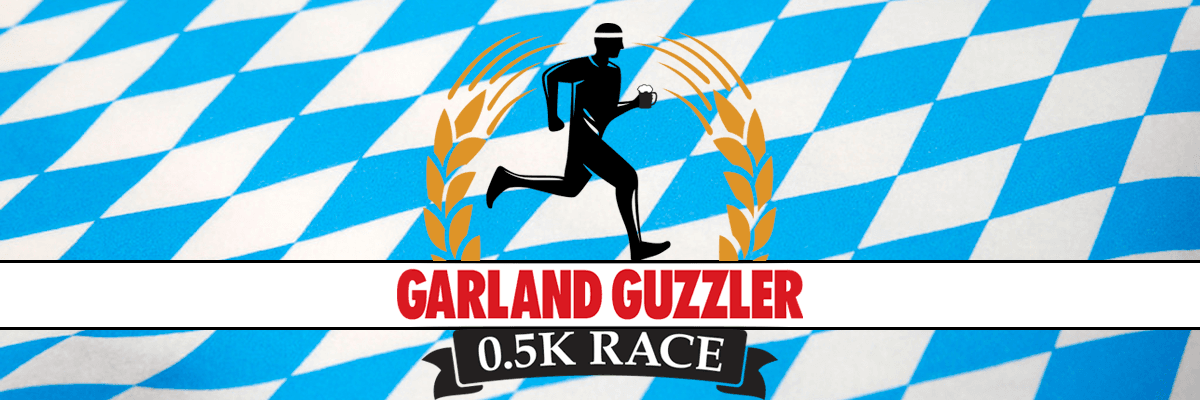 blue and white checkered image with Garland Guzzler 0.5K Race logo