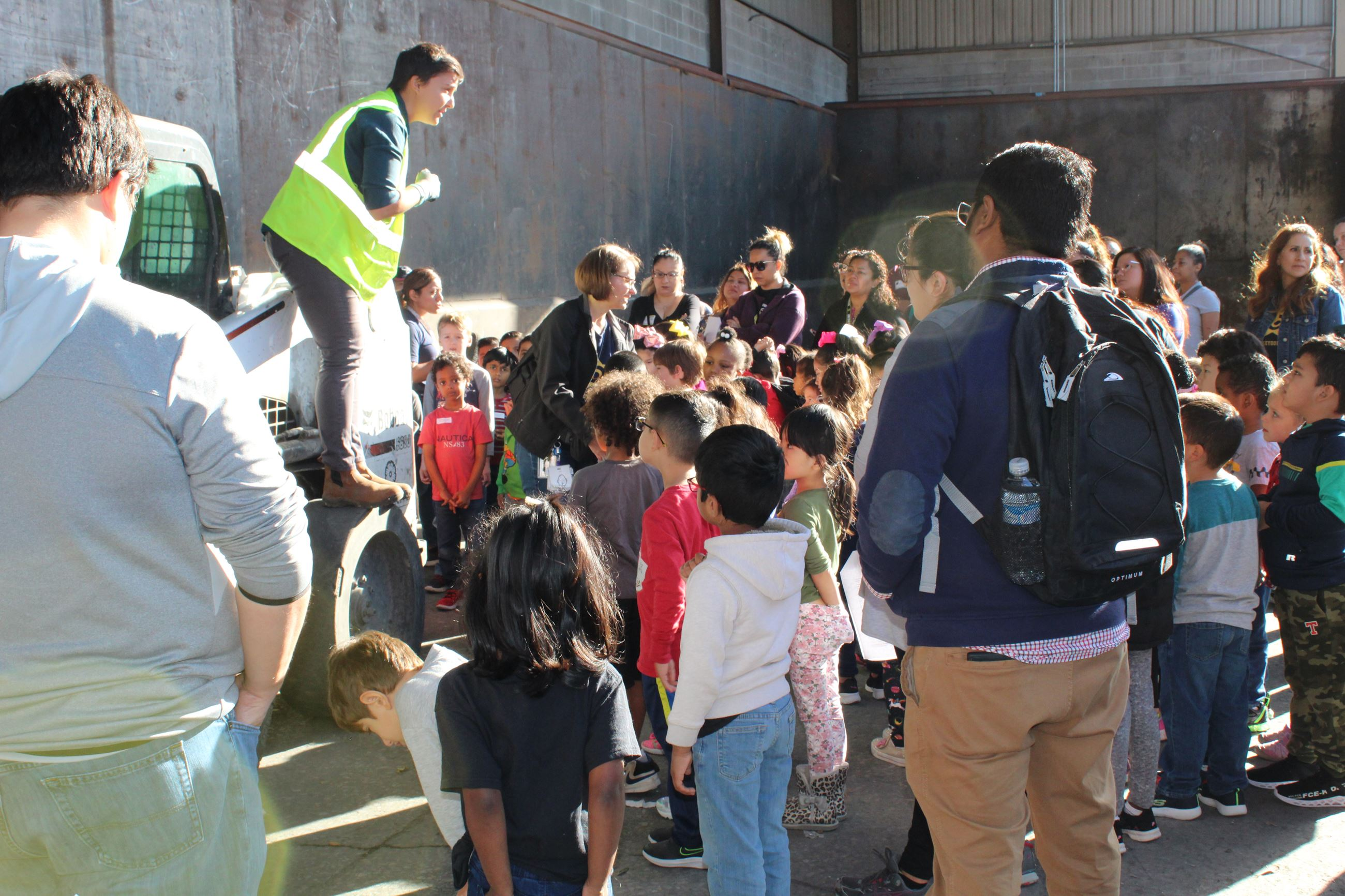 GISD students and parents get a tour of the Garland Recycling Center