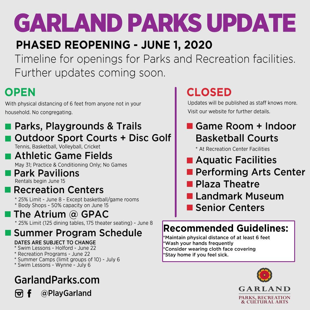 Park and recreation facilities that are open and still closed as of June 1, 2020