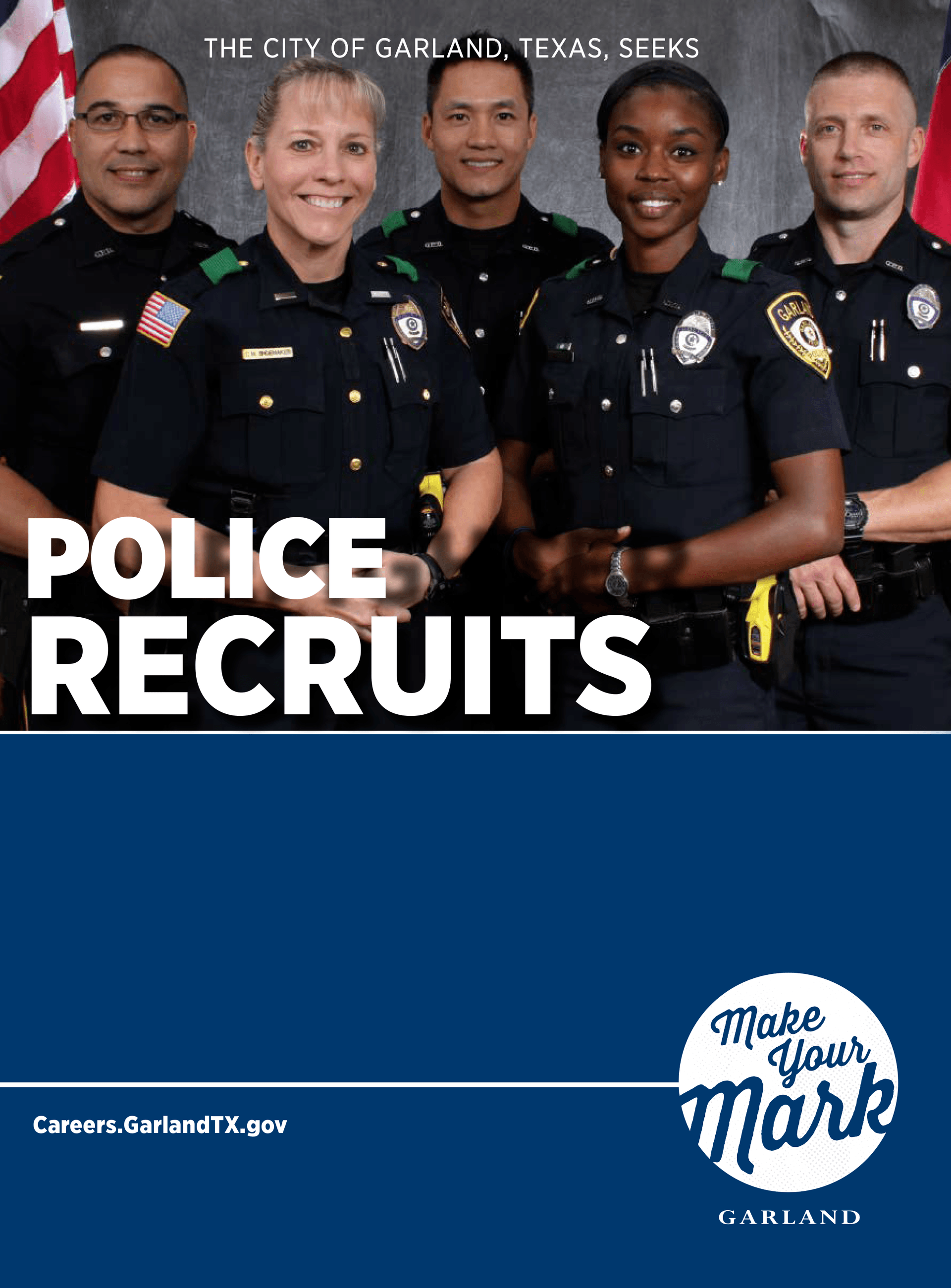 Cover of recruitment brochure that has police officers