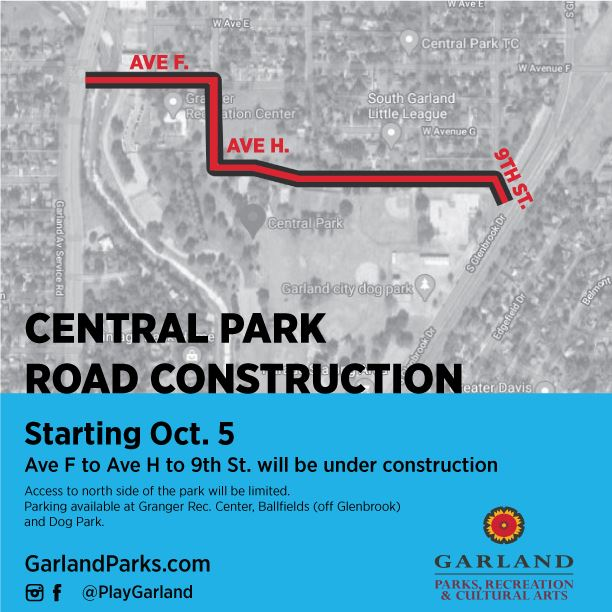 Central Park Road Project map with line from Ave F, Ave-H, to 9th St.