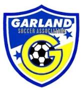 Garland Soccer Assciation logo with a soccer ball